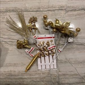 Gold Christmas Tree Pick Decoration
